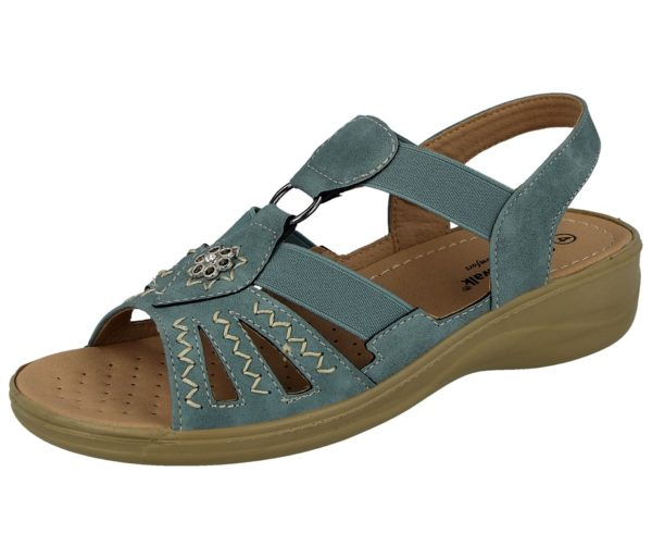 cushion walk womens faux leather open toe gladiator sandal blue