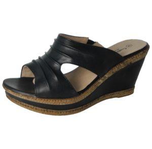 cushion walk womens faux leather open toe wedge sandals black