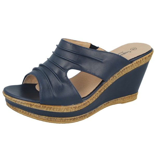 cushion walk womens faux leather open toe wedge sandals navy