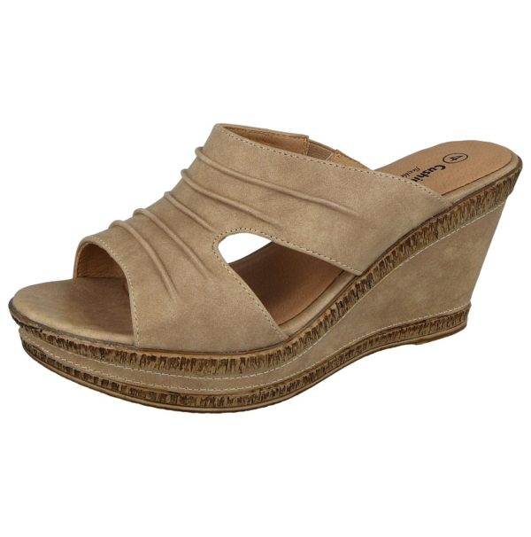 cushion walk womens faux leather open toe wedge sandals nude