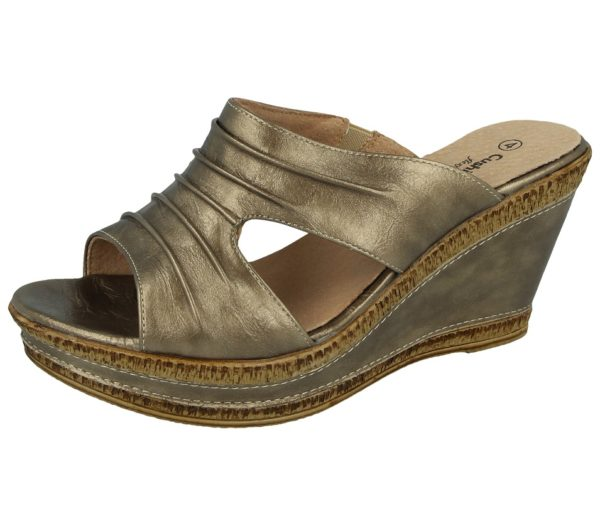 cushion walk womens faux leather open toe wedge sandals soft gold