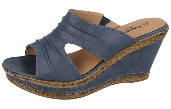 cushion walk womens faux leather open toe wedge sandals blue