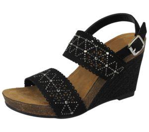 fabulous womens faux leather raffia wedge sandal black