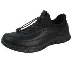 X Sport Women's Black Faux Leather PU Toggle Slip On Trainers