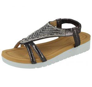 Chix Women's Faux Leather Aztec Diamante T-Bar Sandals - Pewter