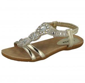 Chix Women's Faux Leather T-Bar Diamante Sandals - Gold