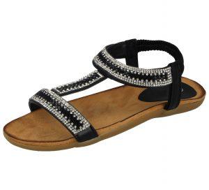 Chix Women's Faux Leather Diamante T-Bar Sandals - Black