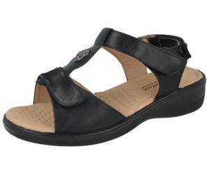 Dr Lightfoot Women's Faux Leather Wide Fit Sandals - Black