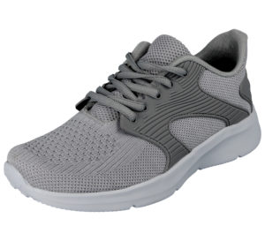 BXT Women's Canvas Mesh Lace Up Memory Foam Trainers - Grey
