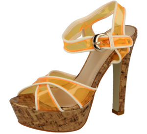 Aisha Women's Neon Orange Transparent Stiletto High Heels