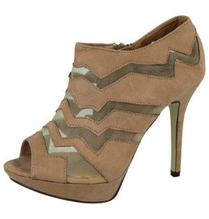 Milaya Women's Faux Suede Mesh Stiletto High Heels - Beige
