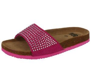 Bio Rock Women's Fuchsia Diamante Strap Slider Sandals
