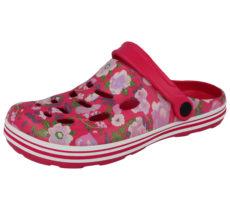 Cloxx Women's Floral Print EVA Slip On Clogs - Fuchsia