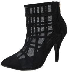 Milaya Women's Faux Suede Mesh Cage Stiletto High Heels - Black