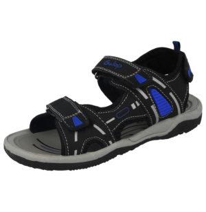 Galop Boys Faux Leather Triple Touch & Close Sandals - Black/Blue