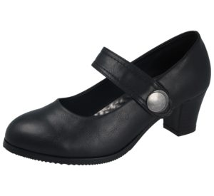 Cushion Walk Women's Black Faux Leather Mary Jane Court Shoes