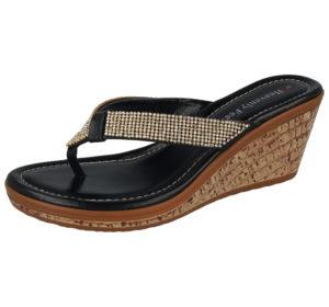 Heavenly Feet Women's Faux Leather Diamante T-Bar Sandals - Black