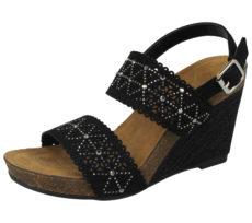Fabulous Fabs Women's Faux Leather Raffia Wedge Sandals - Black