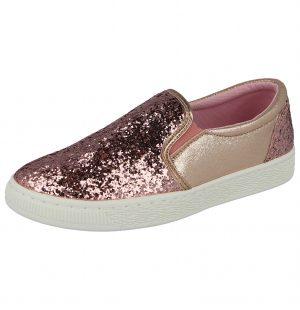 Ella Women's Glitter Slip On Trainers - Pink