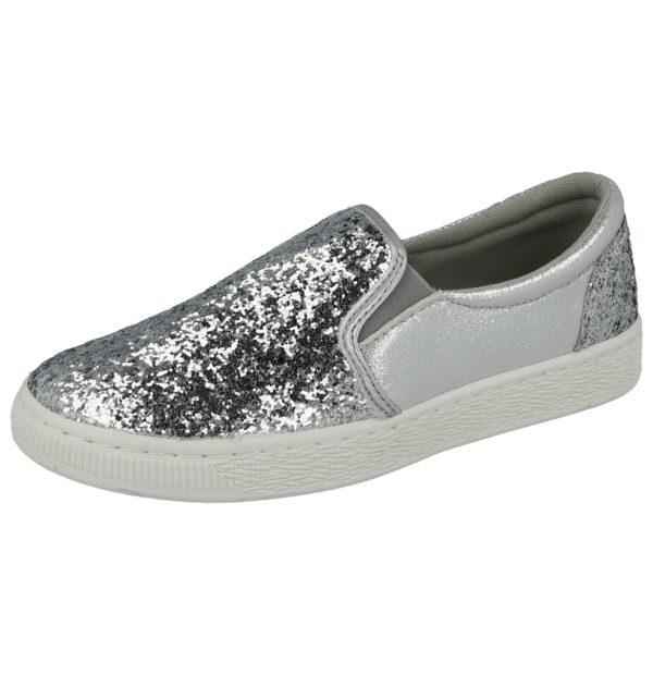 Ella Women's Glitter Slip On Trainers - Silver