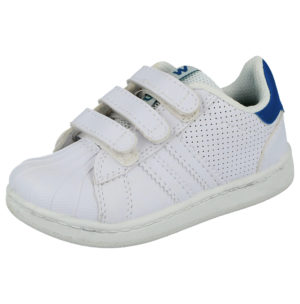 MX2 Unisex Faux Leather Tennis Touch & Close Trainers - White Blue