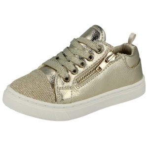 Buckle My Shoe Girls Faux Leather Gold Metallic Trainers