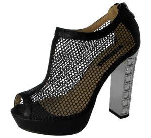 milaya womens faux leather mesh diamante high heel black