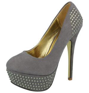 milaya womens faux suede diamante stiletto high heel grey