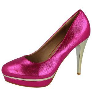 milaya womens faux leather pink metallic high heel stiletto