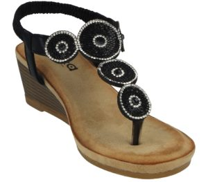 yinka womens disc diamante t bar wedged sandal black