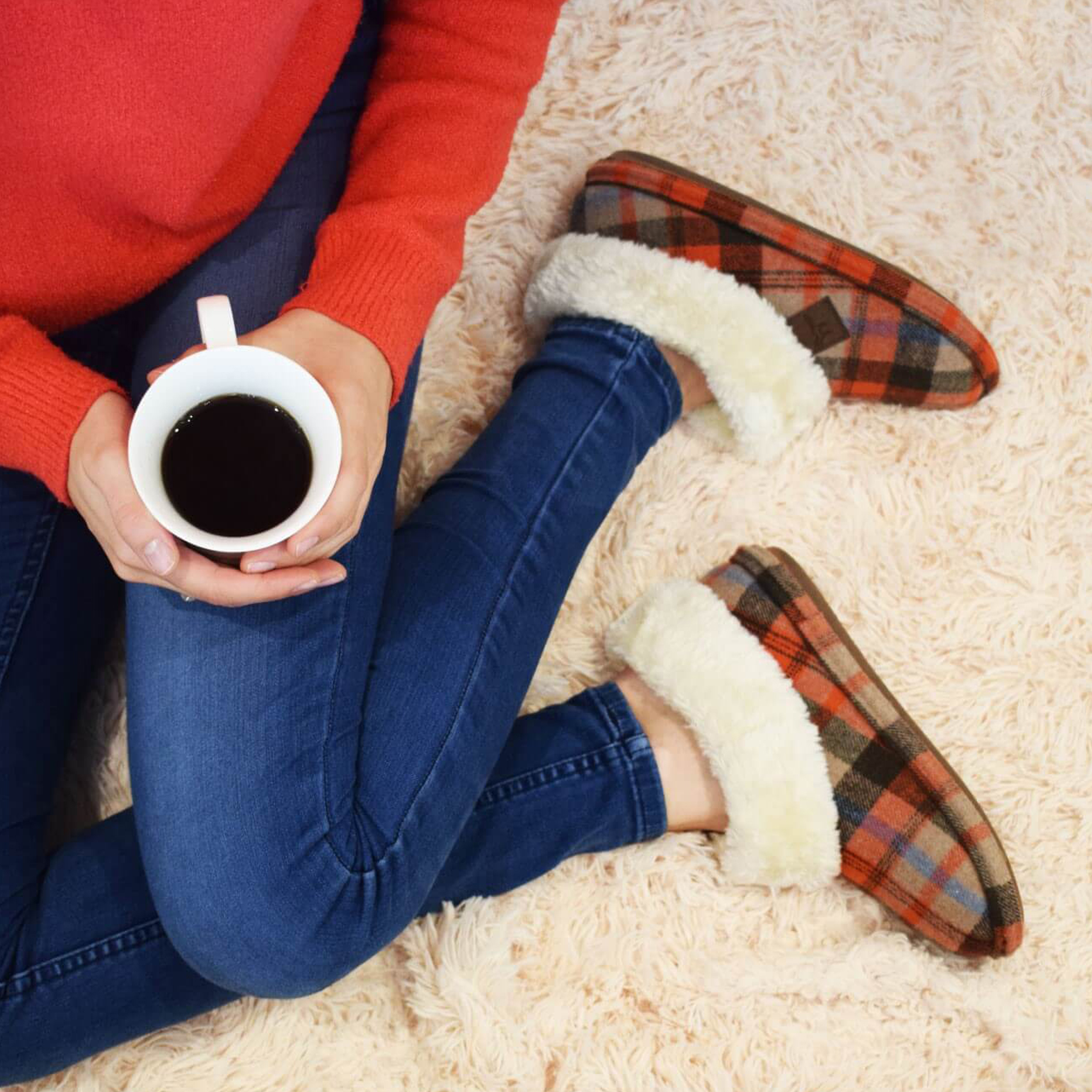 Bootie Glenroyal Tartan Slippers from Jo and Joe with coffee
