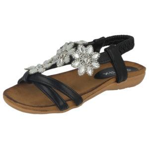 Chix Girls Faux Leather Flower Diamante T-Bar Sandals - Black