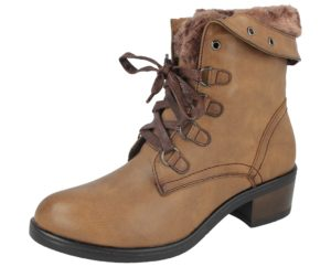antonio womens brown faux leather lace up ankle boot