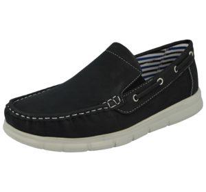 cushion walk mens faux leather slip on boat shoe black