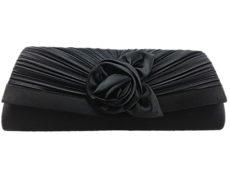 Comfort Plus Women's Satin Rosetta Clutch Bag - Black