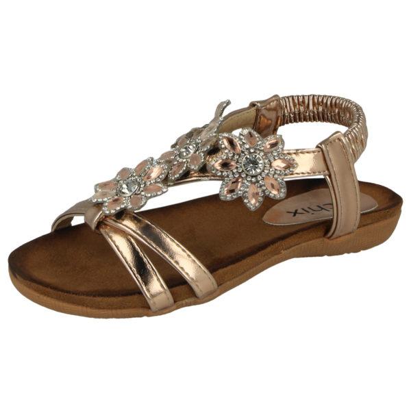 Chix Girls Faux Leather Flower Diamante T-Bar Sandals - Rose Gold