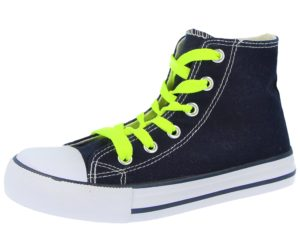 No Sense Unisex Neon Breathable Canvas Hi Top Trainers - Navy/Green