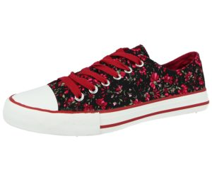 Galop Girls & Women's Breathable Canvas Floral Print Low Top Trainers - Black Burgundy