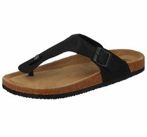 Bio Rock Men's Faux Leather Chunky Toe Post Sandals - Black