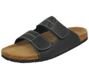 Bio Rock Men's Faux Leather Double Touch & Close Slider Sandals - Black