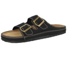Bio Rock Men's Faux Leather Double Buckle Sandals - Black