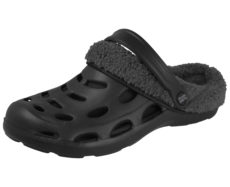 Cloxx Men's EVA Faux Fur Slip On Clogs - Black