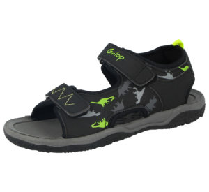 Galop Boys Faux Leather Dinosaur Print Gladiator Sandals - Black/Lime
