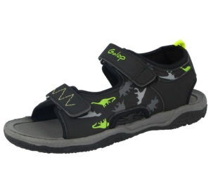 Galop Boys Faux Leather Dinosaur Print Gladiator Sandals - Black/Lime