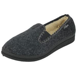 Cara Mia Women's Faux Sheepskin Slip On Moccasin Slippers - Dark Grey