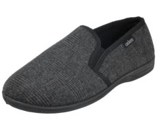 Cadans Men's Textile Elastic Gusset Slip On Moccasin Slippers - Black