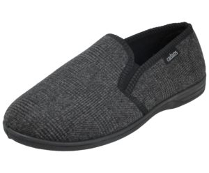 Cadans Men's Textile Elastic Gusset Slip On Moccasin Slippers - Black