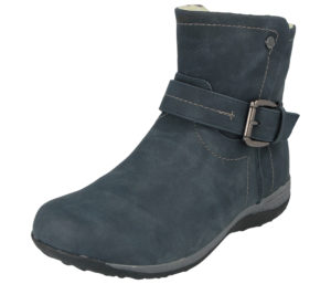Embrace Women's Faux Leather Buckle Ankle Boots - Navy