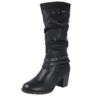 Embrace Women's Black Faux Leather Knee High Riding Boots