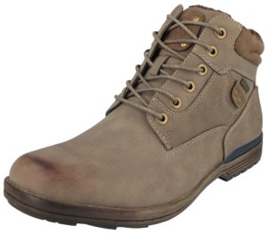 Yinka Shoes Men's Faux Leather Fur Lined Combat Boots